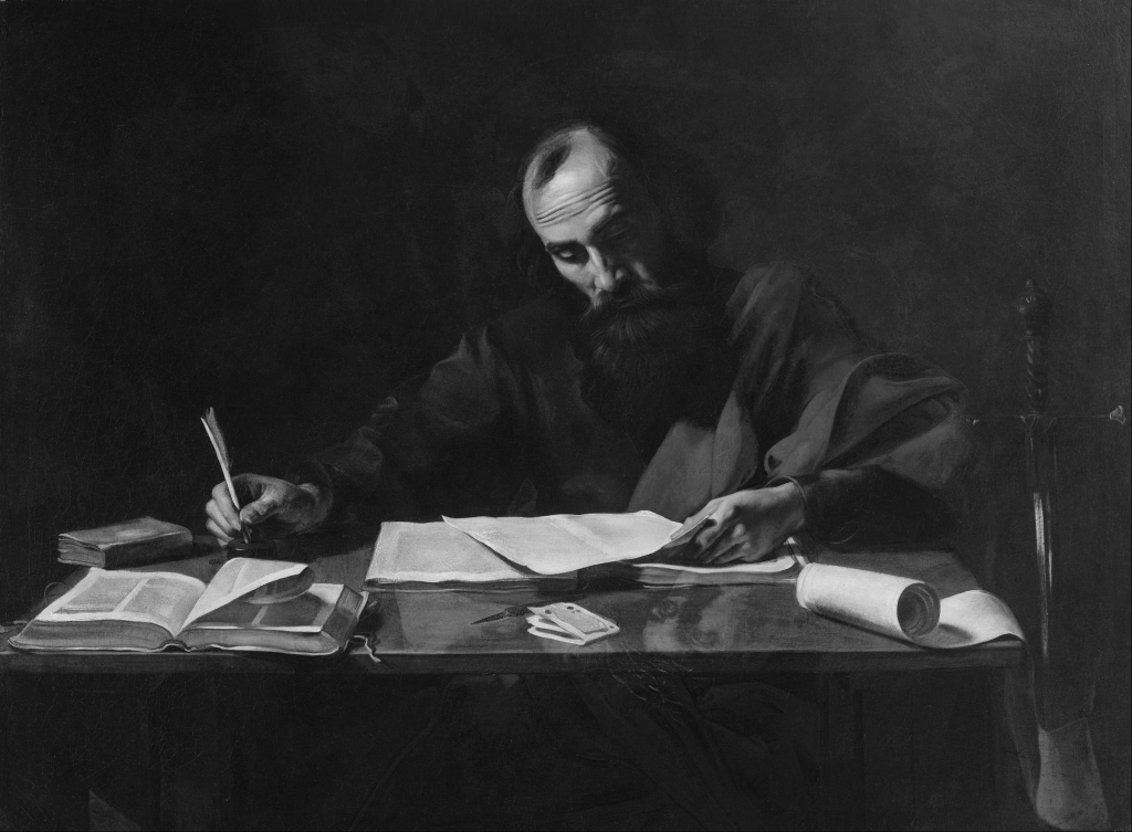 Probably Valentin de Boulogne – Saint Paul Writing His Epistles