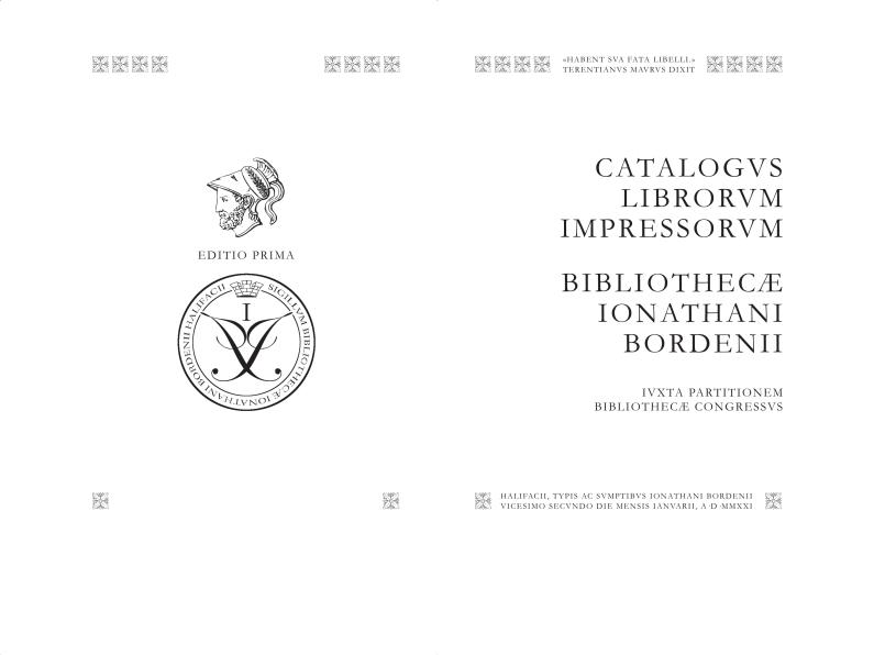 Jonathan Borden – Catalogus Librorum Impressorum Bibliothecæ Ionathani Bordenii